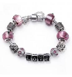 Love armbånd med lilla charms