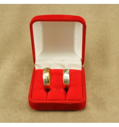 Klassisk ringæske til 2 ringe, rød/rød