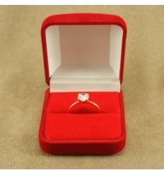 Klassisk ringæske til 1 ring, rød/rød