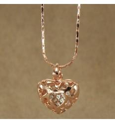 Hjerte halskæde, kobberfarve
