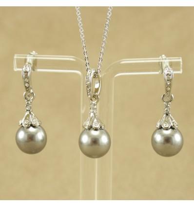 Elegant smykkesæt, grå