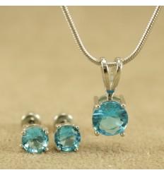 Klassisk smykkesæt med krystal, lys blå