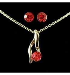 Enkelt smykkesæt - Rød