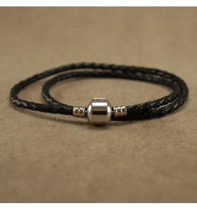 Læderarmbånd dobbelt. sort