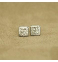 Firkant ørestik med små krystaller