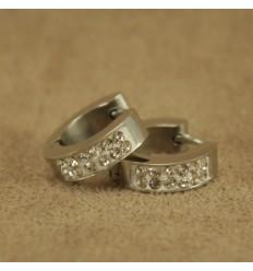 Creoler, sølvfarvet med krystal