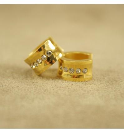Guldfarvet creol med klare krystaller, bred