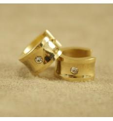 Guldfarvet creol med klar krystal, bred