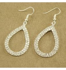 Sølvfarvet glitrende ørehænger