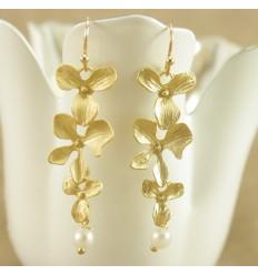 Guldfarvet orkide ørehænger
