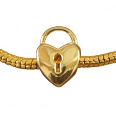 Hjerte med nøglehul, guldfarvet