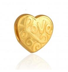 Hjerte hvor der står Love, guldfarvet