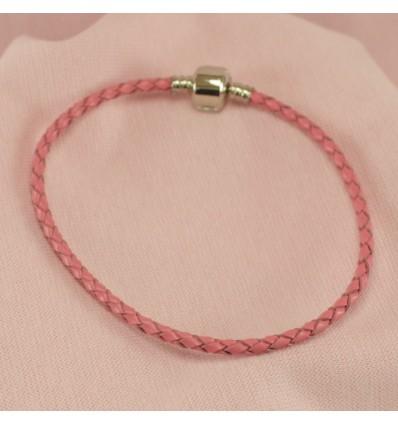 Læderarmbånd, lyserød