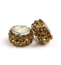 Guldfarvet krystalcharm