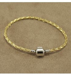 Læderarmbånd, guld