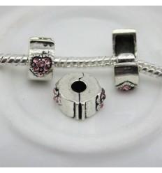 Hjerte klemmeled - Pink krystal