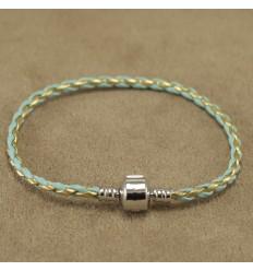 Læderarmbånd, guld og lys blå