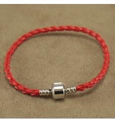Læderarmbånd, rød