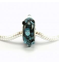 Håndlavet charm med blåt mønster