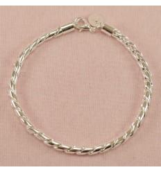 Kraftigt herre armbånd, sølvfarve
