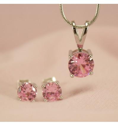 Klassisk smykkesæt med krystal, lyserød