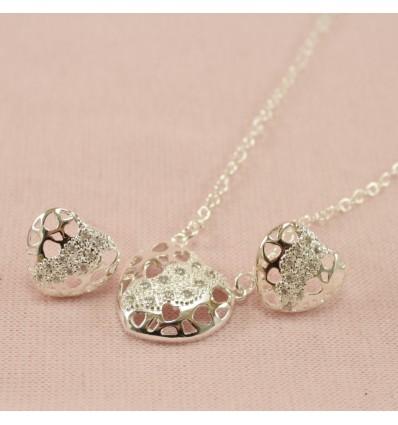 Glitrende hjerte smykkesæt