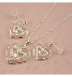Glitrende dobbelt hjerte smykkesæt