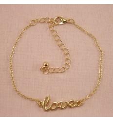 Guldfarvet Love Ankelkæde