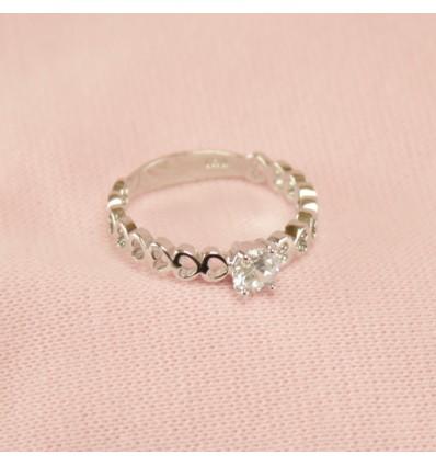 Hjerte ring med klar krystal