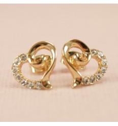 Guldfarvet hjerte ørestik med flotte krystaller