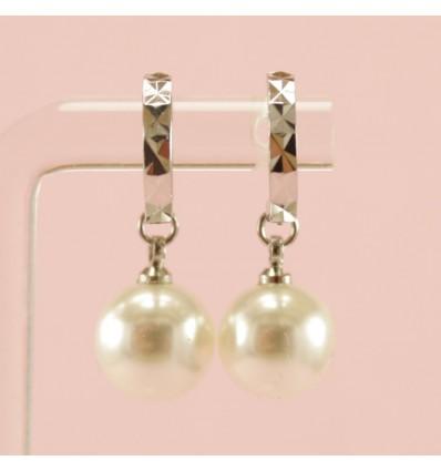 Riflet ørehænger med simili perle