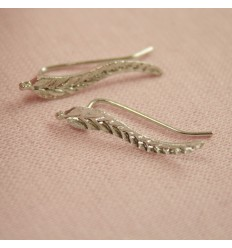 Blad earcuff, sølvfarvet