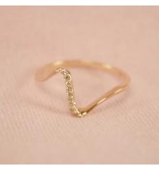 Bølge krystal ring