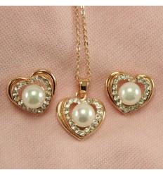 Hjerte smykkesæt med simili perle