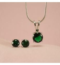 Klassisk smykkesæt med krystal, grøn