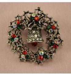 Julebroche - Klokke med Kristtjørn