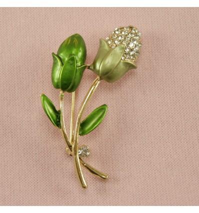 Grøn Glitrende Blomst
