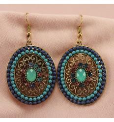 Klassisk smykkesæt med krystal, mørk blå