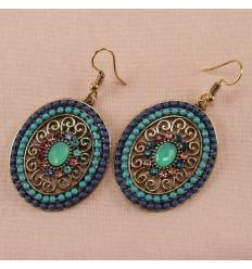 Klassisk smykkesæt med krystal, blå