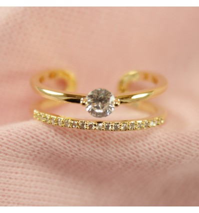 Guldfarvet dobbelt ring