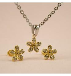Blomster smykkesæt, guldfarve
