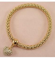 Guldfarvet armbånd med glitrende hjerte