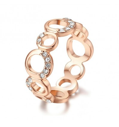 Ring med smukke ovaler, rosaguld