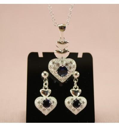 Glitrende hjerte smykkesæt - Blå