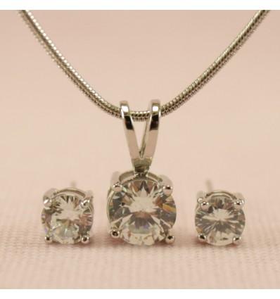 Klassisk smykkesæt med krystal, klar