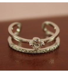 Sølvfarvet dobbelt ring