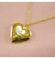 I Love You medaljon - Guldfarve