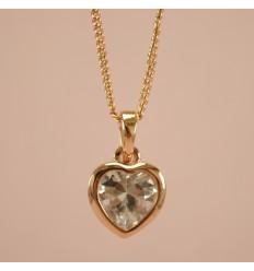 Exceptionel guldfarvet hjerte halskæde