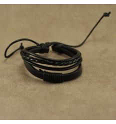 Smart flerstrenget læderarmbånd, sort