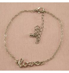 Sølvfarvet Love Ankelkæde
